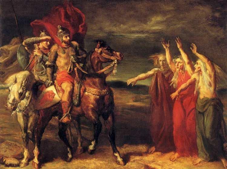 MacbethAndBanquo-Witches_TheodoreChasseriau_publicdomain
